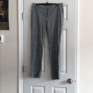 grey and blue plaid work pants